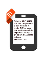 db2ce50a54f Si tu Amigo tiene un saldo menor o igual a $5 pesos, recibirás un Mensaje  de Texto (SMS) invitándote a recibir un Adelanta Saldo de $5, $10 o $15  pesos.