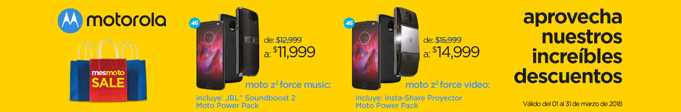 descuentos motorola z dos music o z dos force video