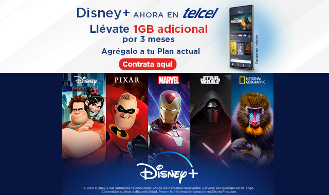 disney plus ahora en telcel y llevate 1 gb adicional por 3 meses agregalo a tu plan actual