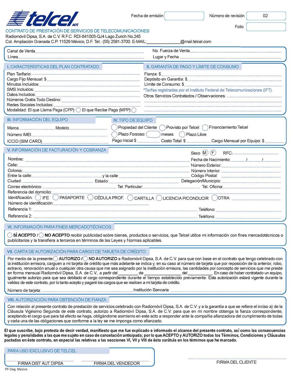 Contrato de prestaci n de servicios corporativo telcel for Contrato documento
